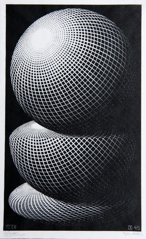 3 spheres / 3 bollen- Maurits Cornelis Escher