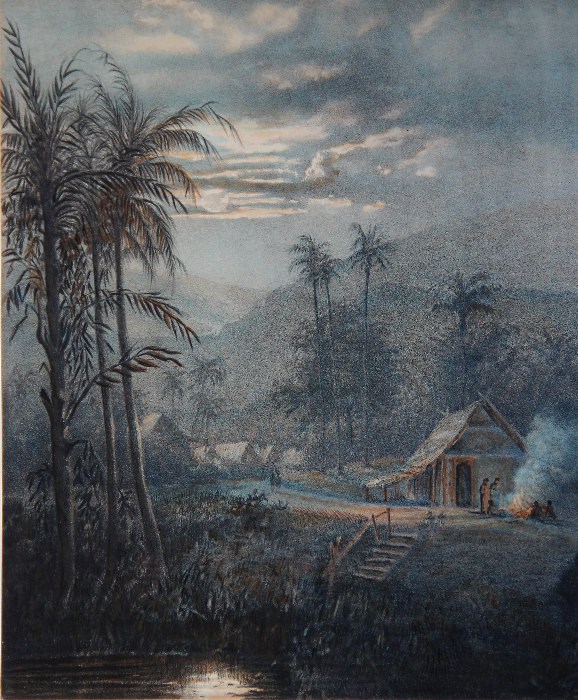 Java, landschap bij manenschein in de omstreken van Sumedangs: Preanger landschappen- Abraham (Ab) Salm
