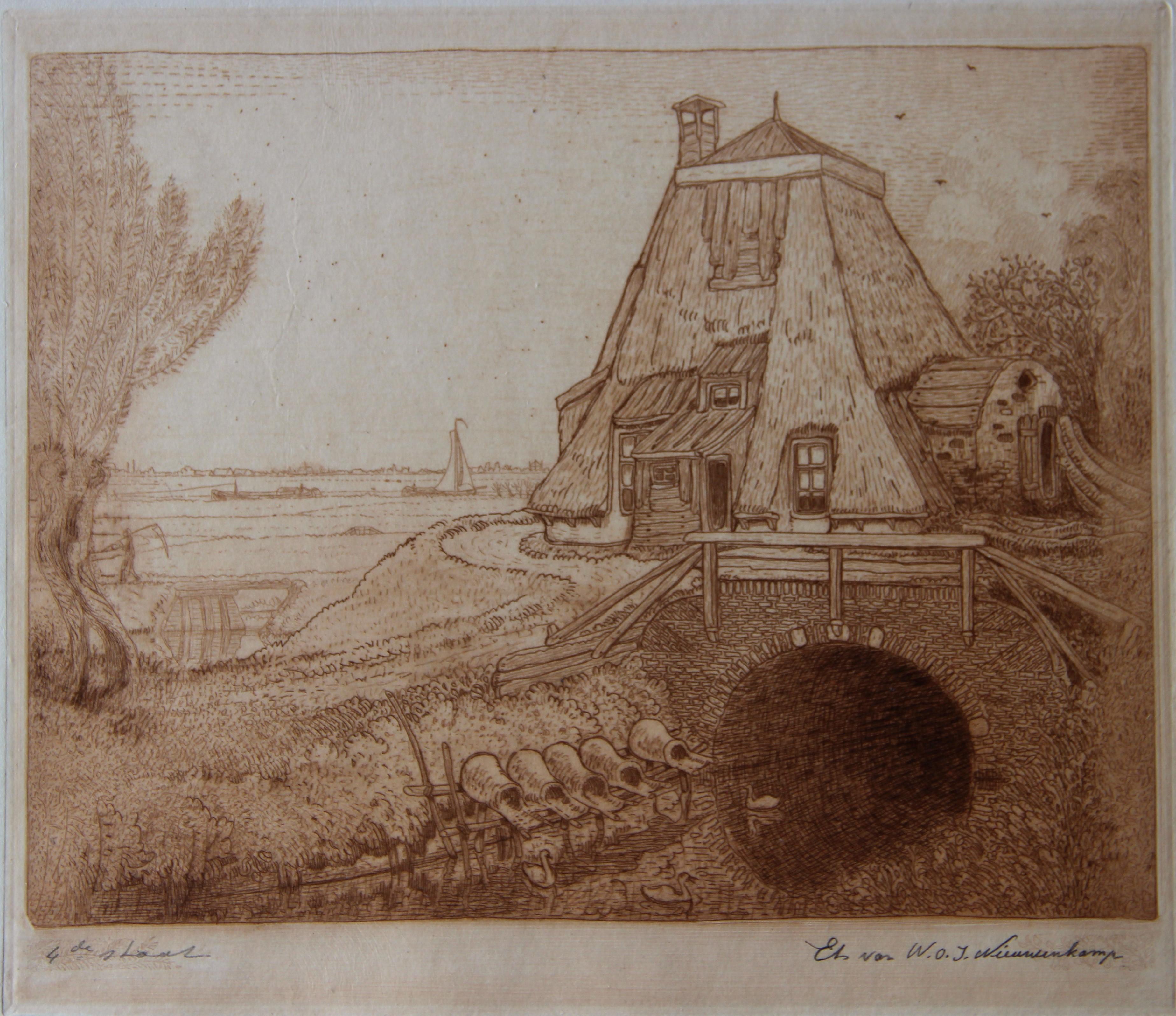 Eendennesten bij een afgeknotte molen- W.O.J. Nieuwenkamp
