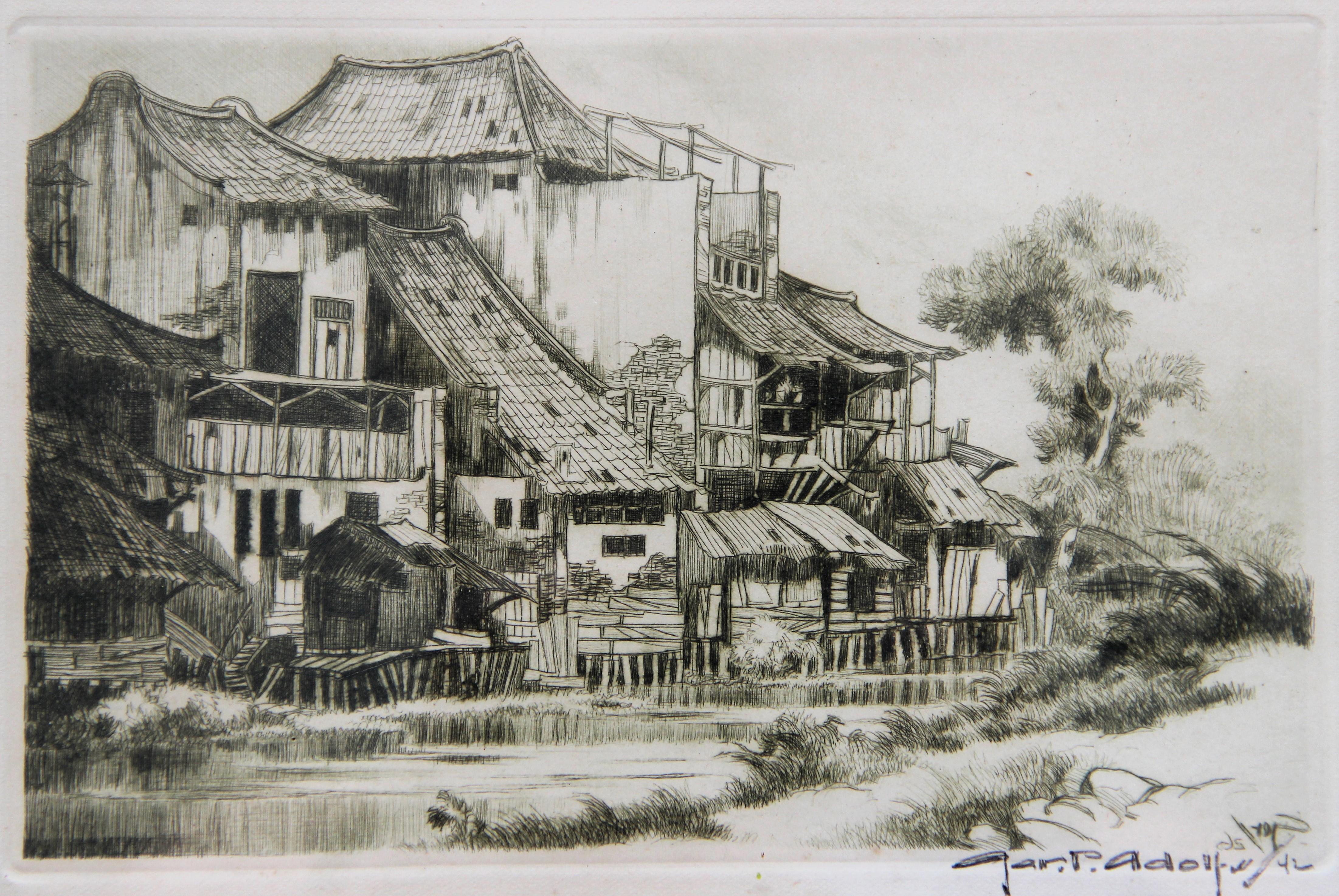 Huizen aan de Kali- Gerard Pieter Adolfs
