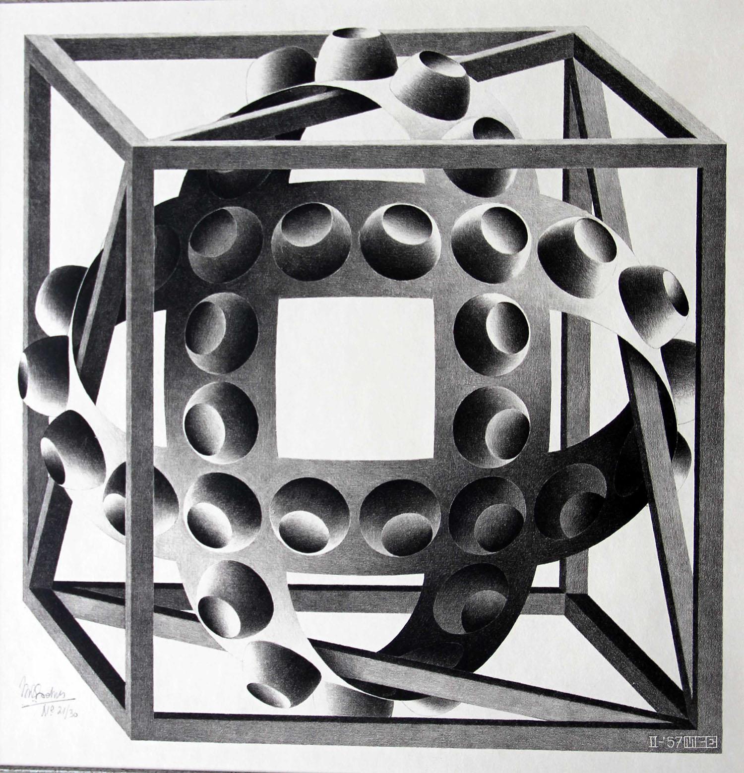 Cube with Ribbons/ kubus met banden- Maurits Cornelis Escher