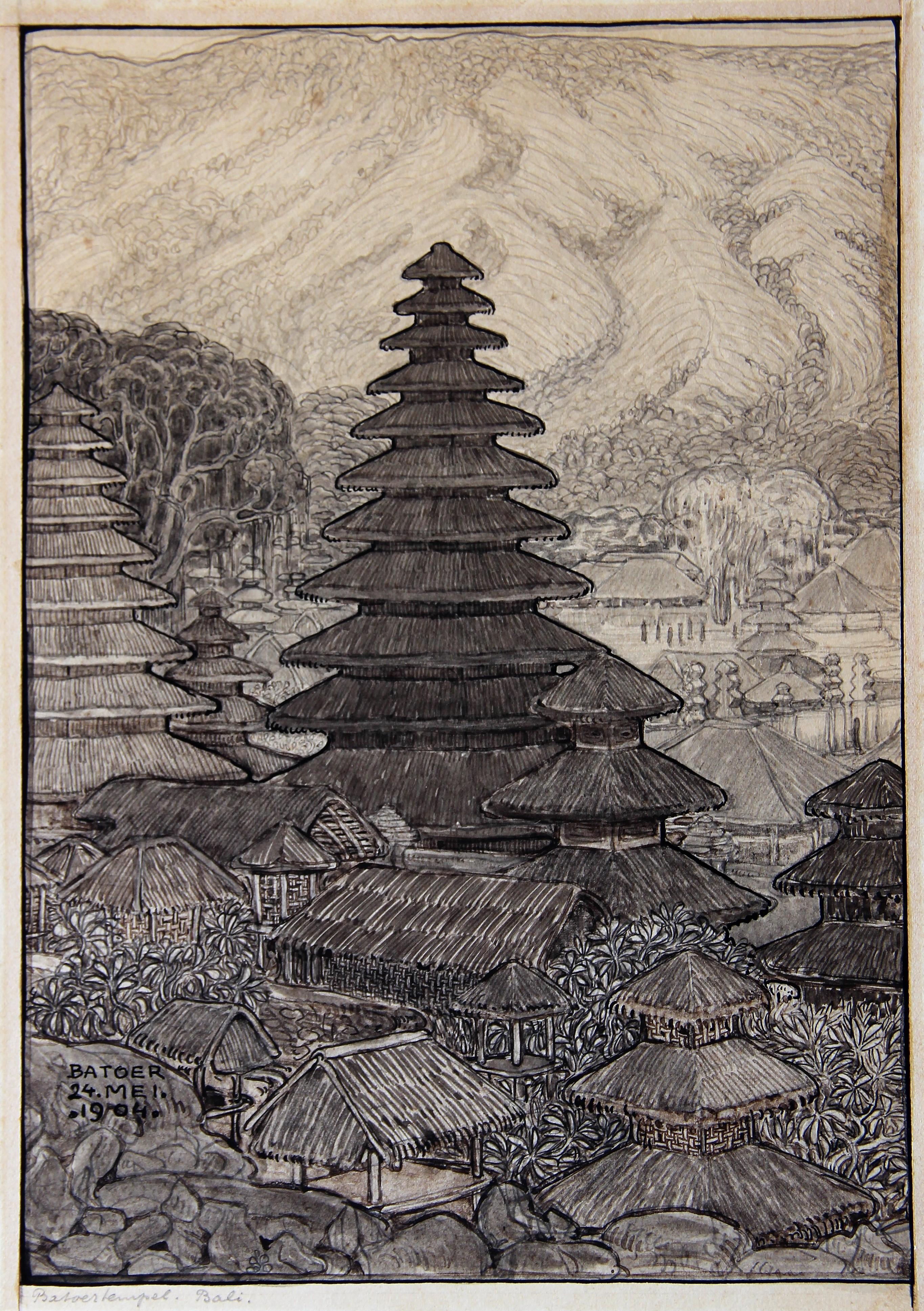 Gezicht op de tempels bij de Batoer op Bali in 1904- W.O.J. Nieuwenkamp