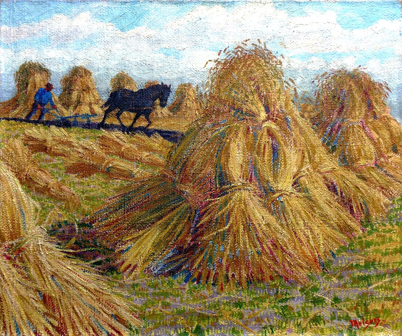 Ploegende boer in veld met graanbundels- Hendrik Johan Melgers