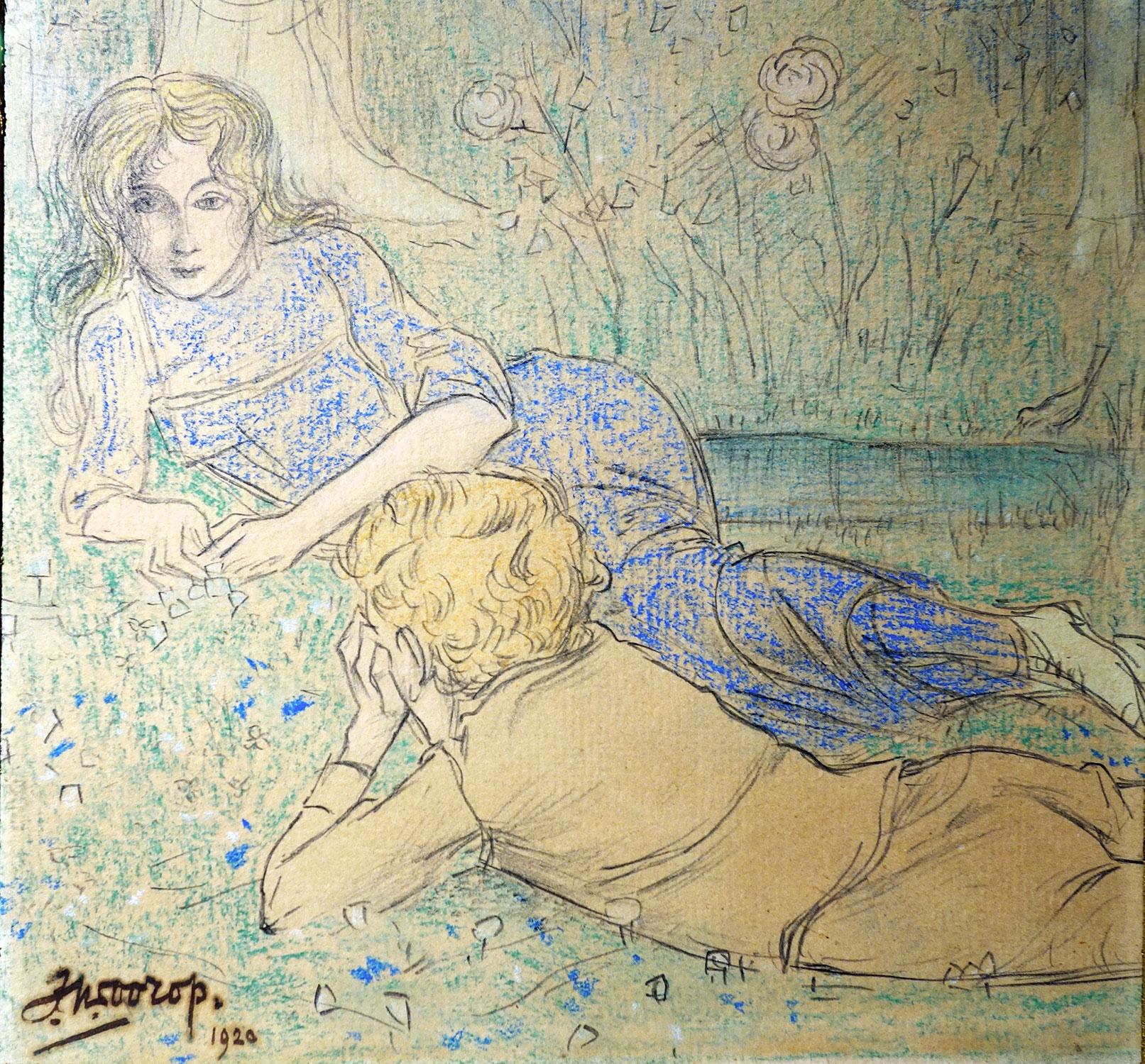 Een jong paartje in het gras- Jan Toorop