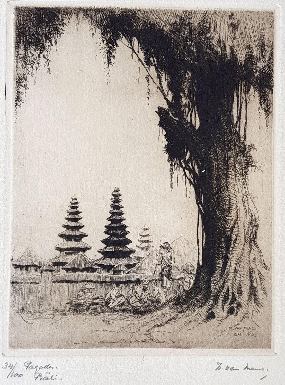 Pagodes op Bali- Is. ( Isidore )  van Mens