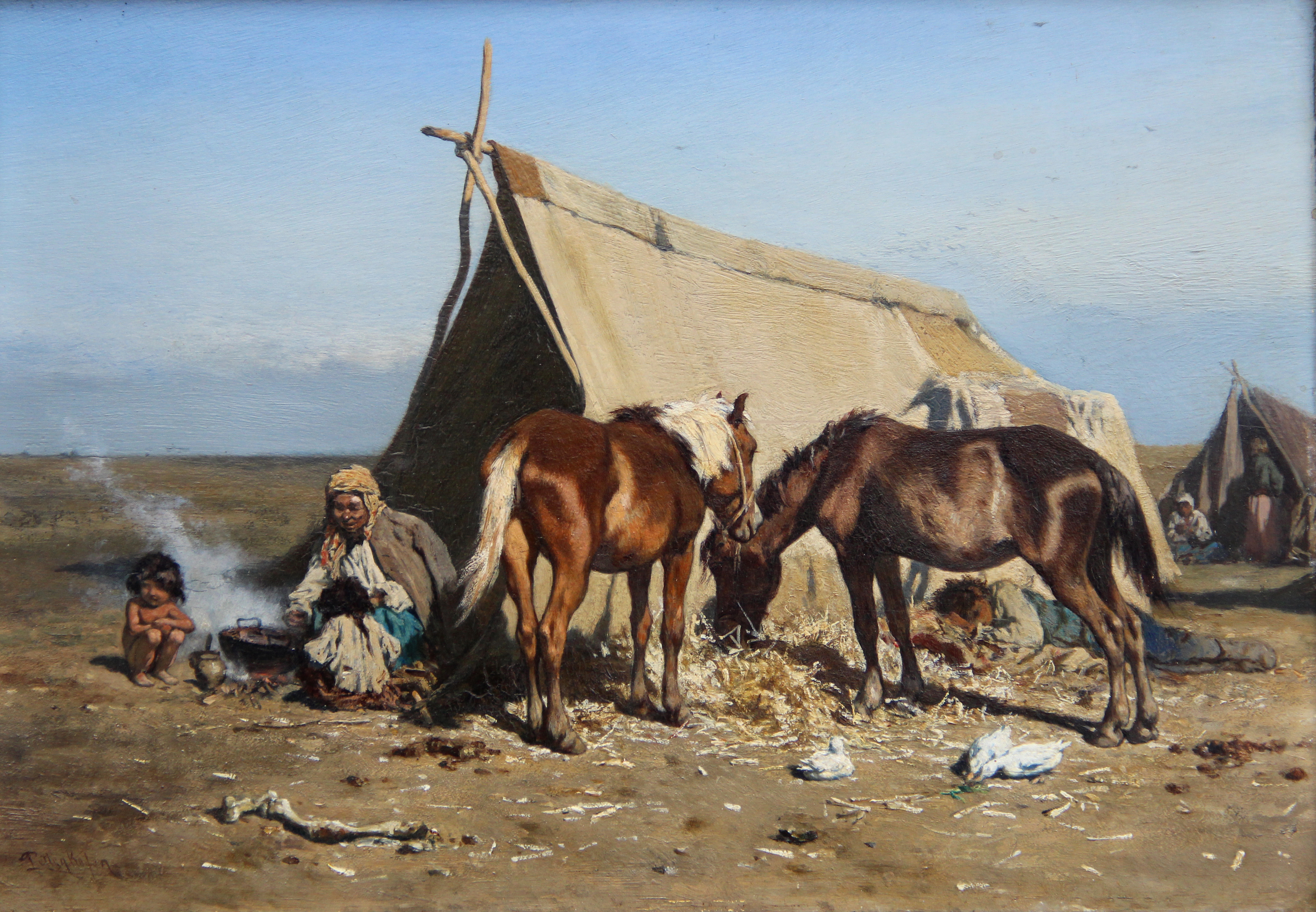 Zigeunerkampement op de Poesta- August Ritter von Pettenkofen