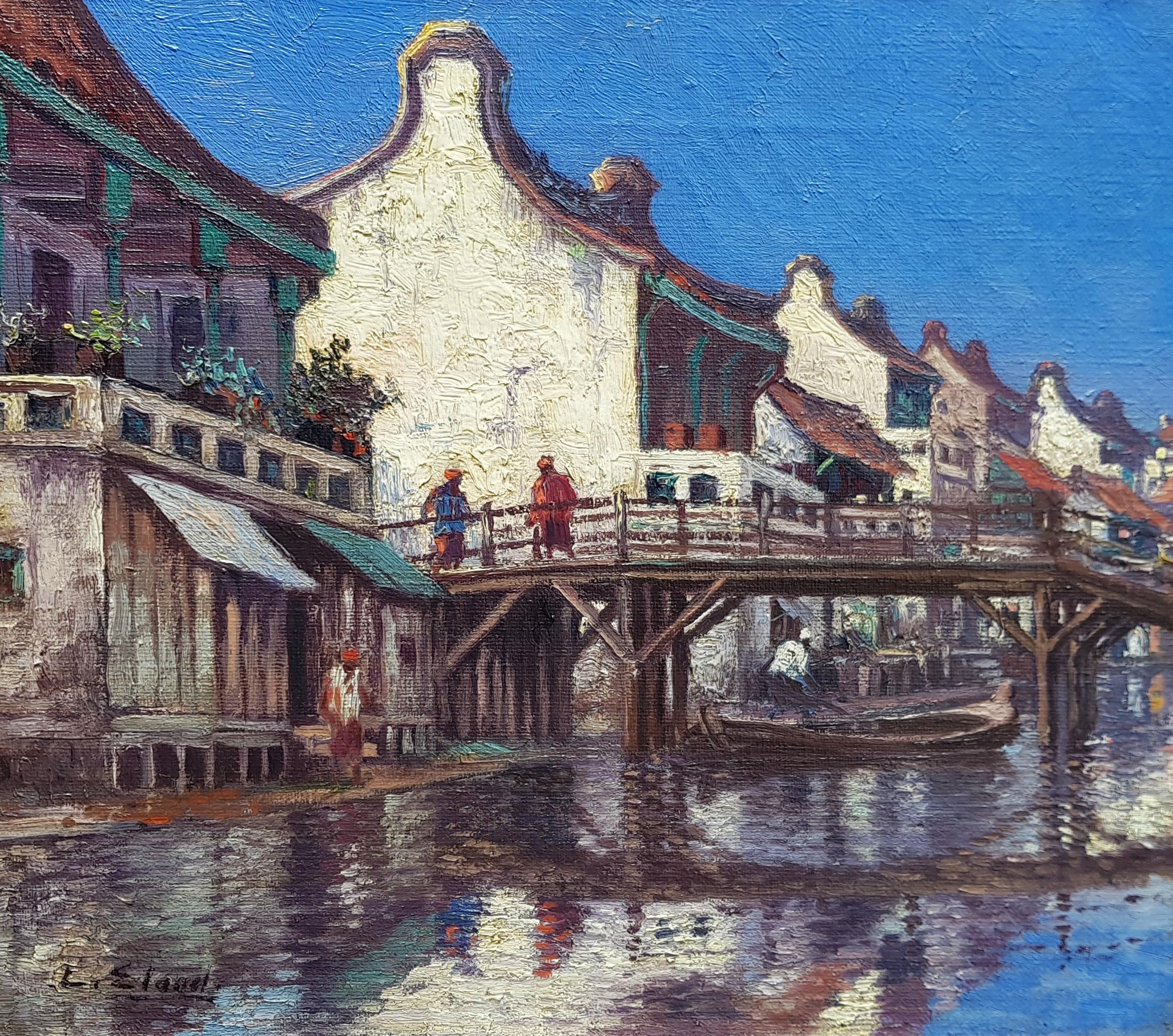 Chinese huizen en figuren op een brug over een Kali in Batavia (Jakarta)- Leo Eland