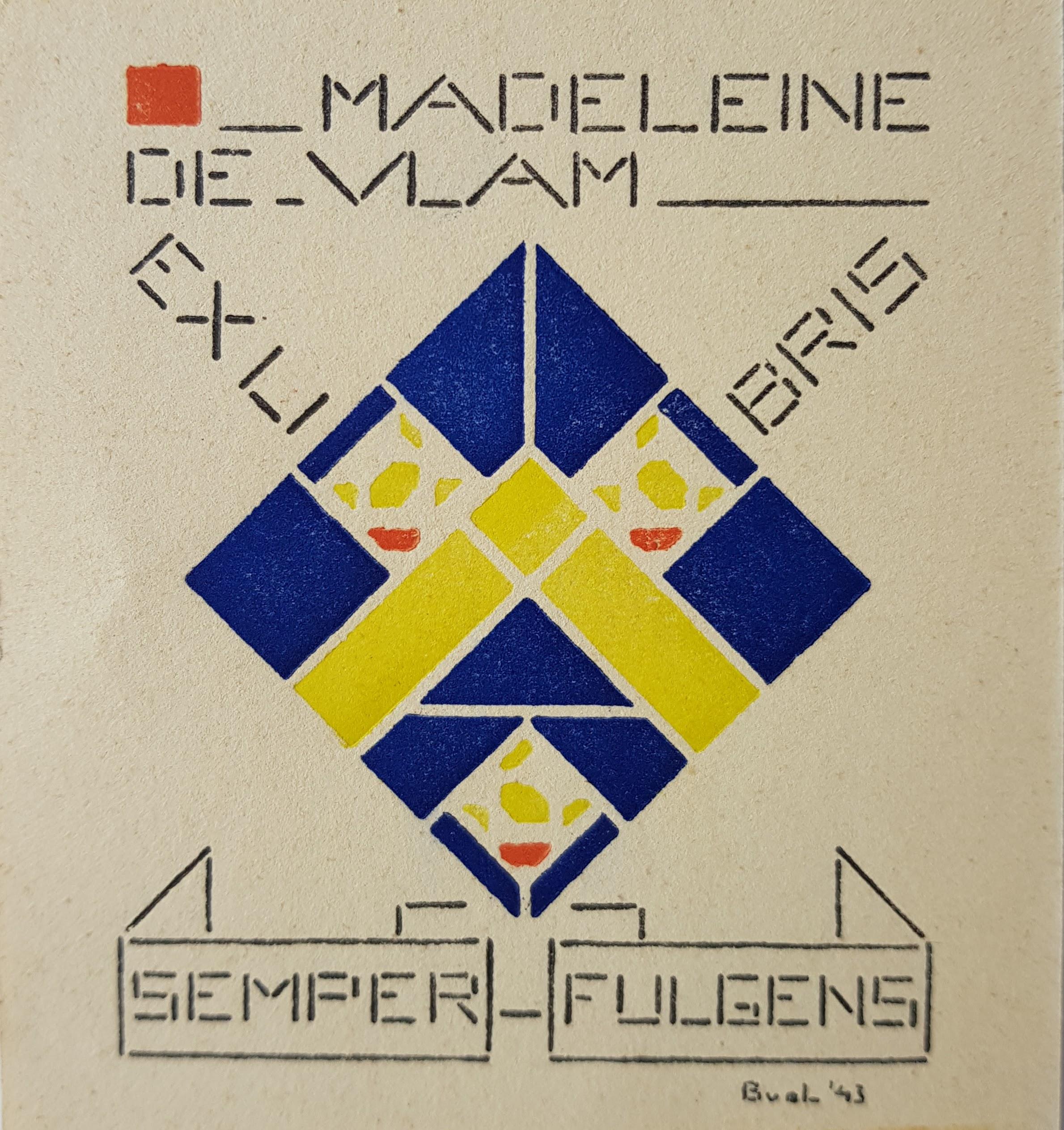 Ex Libris van Madeleine de Vlam- Bart van der Leck