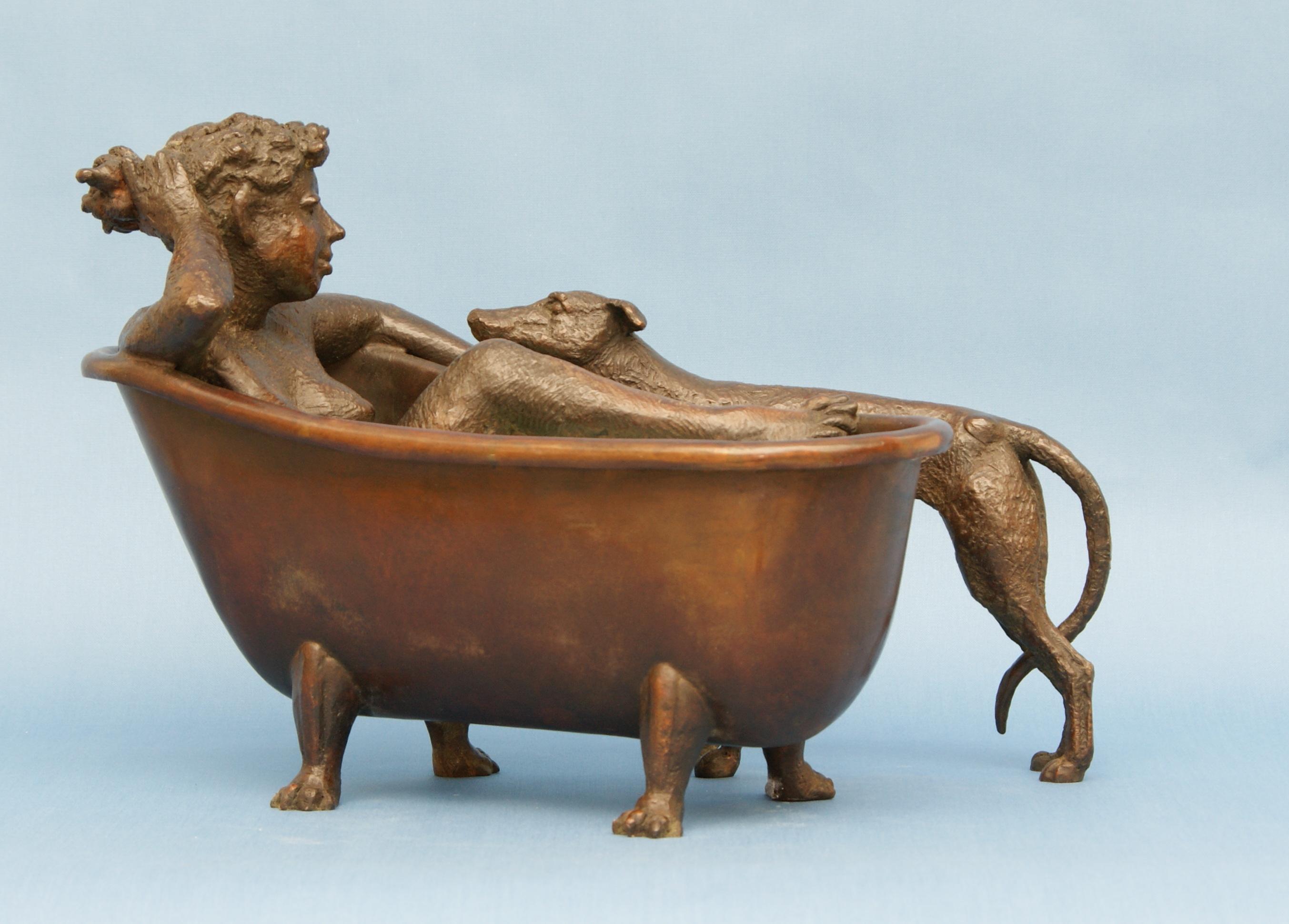 Meisje in bad met hond- Loek Bos