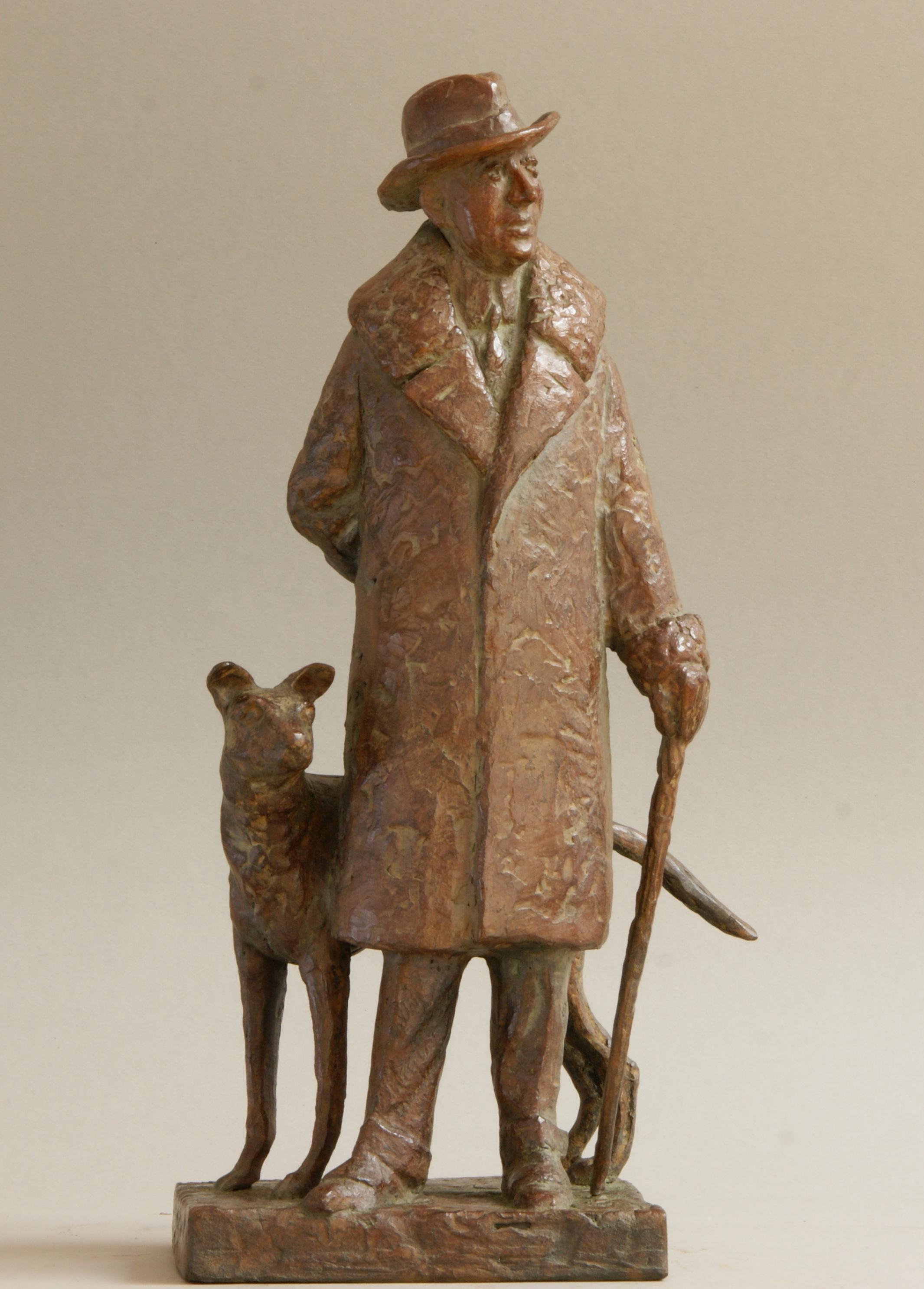 Schetsmodel voor groot uit te voeren beeld van Louis Couperus en zijn hond Brinio- Loek Bos