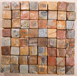166 Garden for my friends 2006 90 x 90 cm white clay oxides, pigments and saltglaze 64 pieces kleine versie