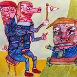 RIK VAN IERSEL CORONA DAGBOEK MAKE ME HUGE AGAIN ! 2020 mix media on paper, 24 x32 cm