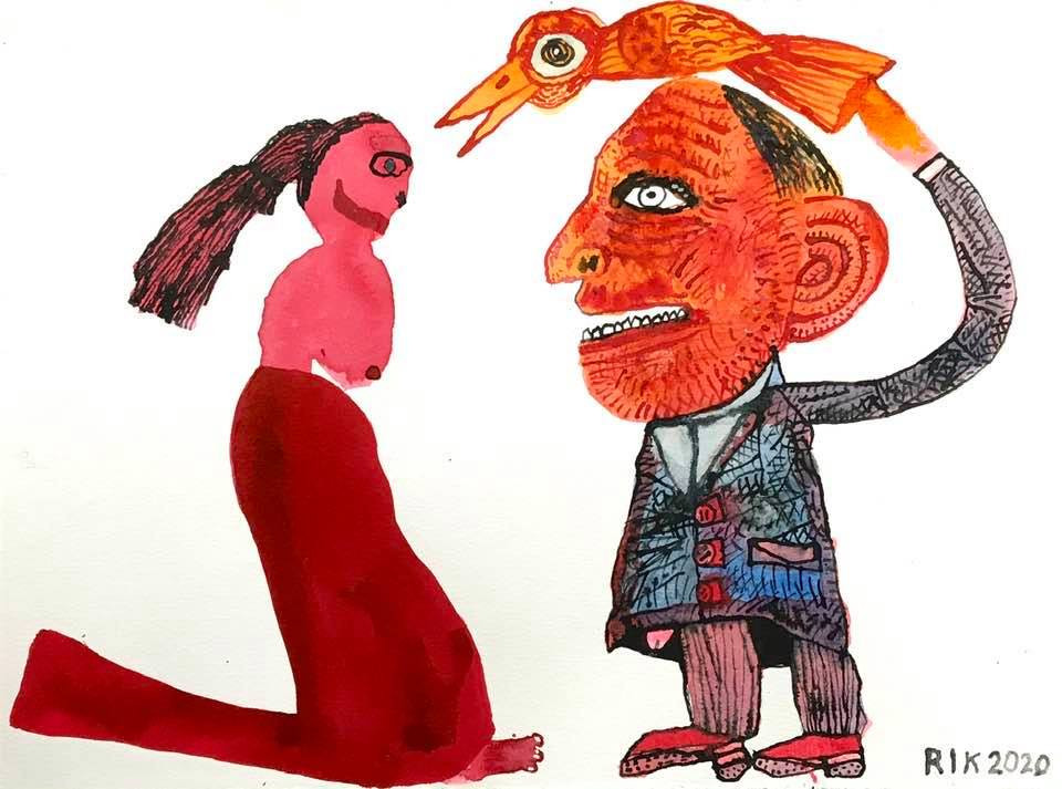 Rik van Iersel Corona Dagboek: The Bird Watcher and the Red Dress- Rik van Iersel