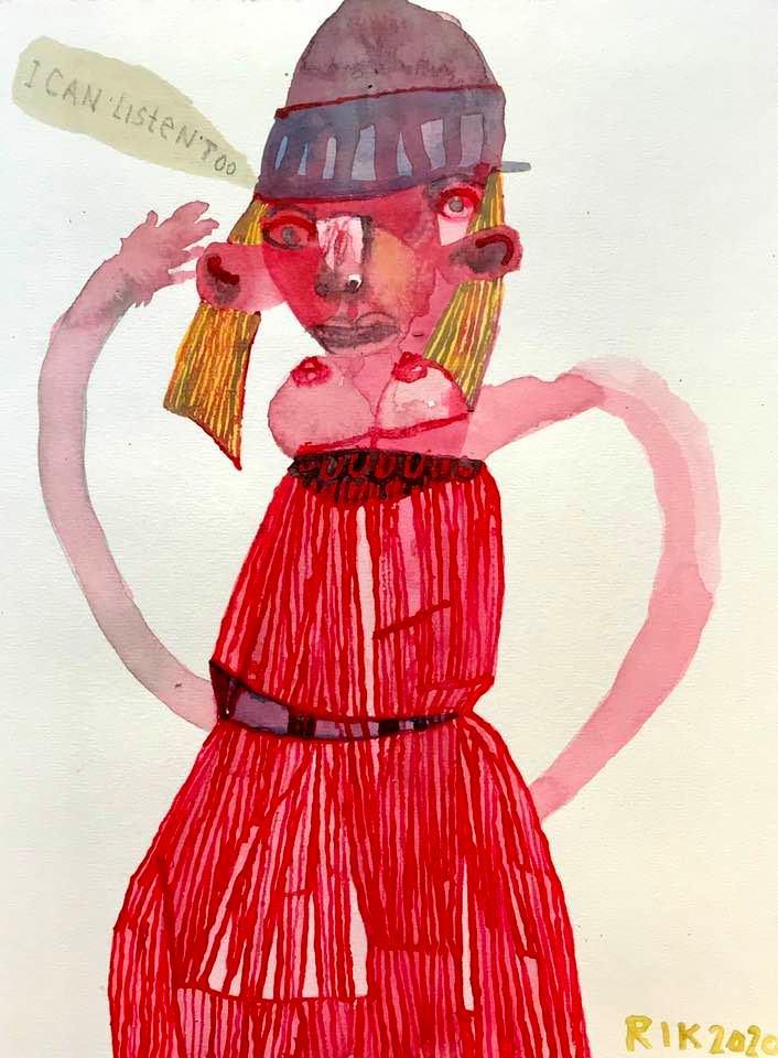 Rik van Iersel Corona Dagboek: Drawings I can Listen Too Red Dress Circa 1967 Indian handmade with stitching- Rik van Iersel