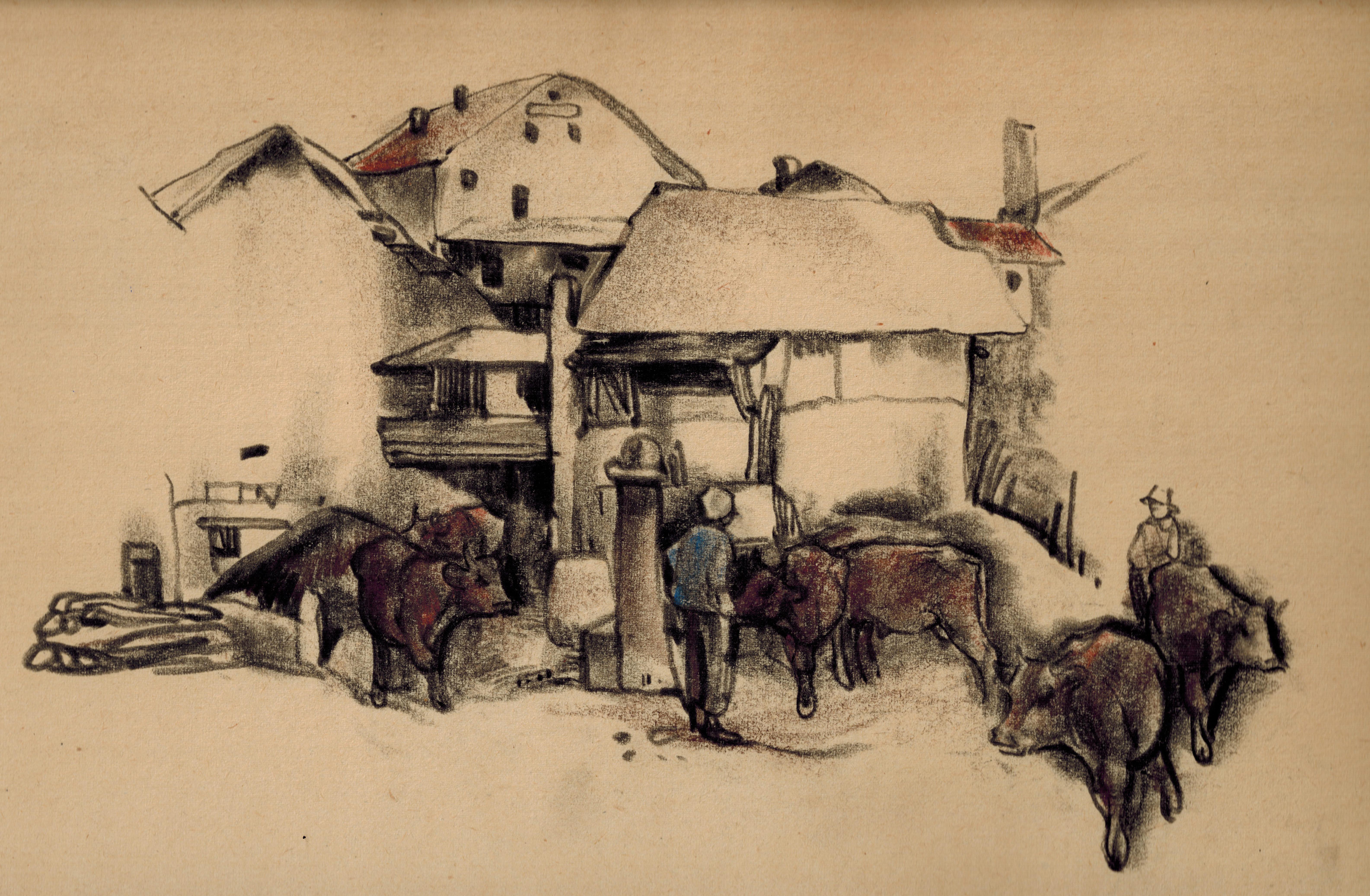 Scharanz Zwitserland Boeren brengen hun koeien naar de Alm- Willem van den Berg