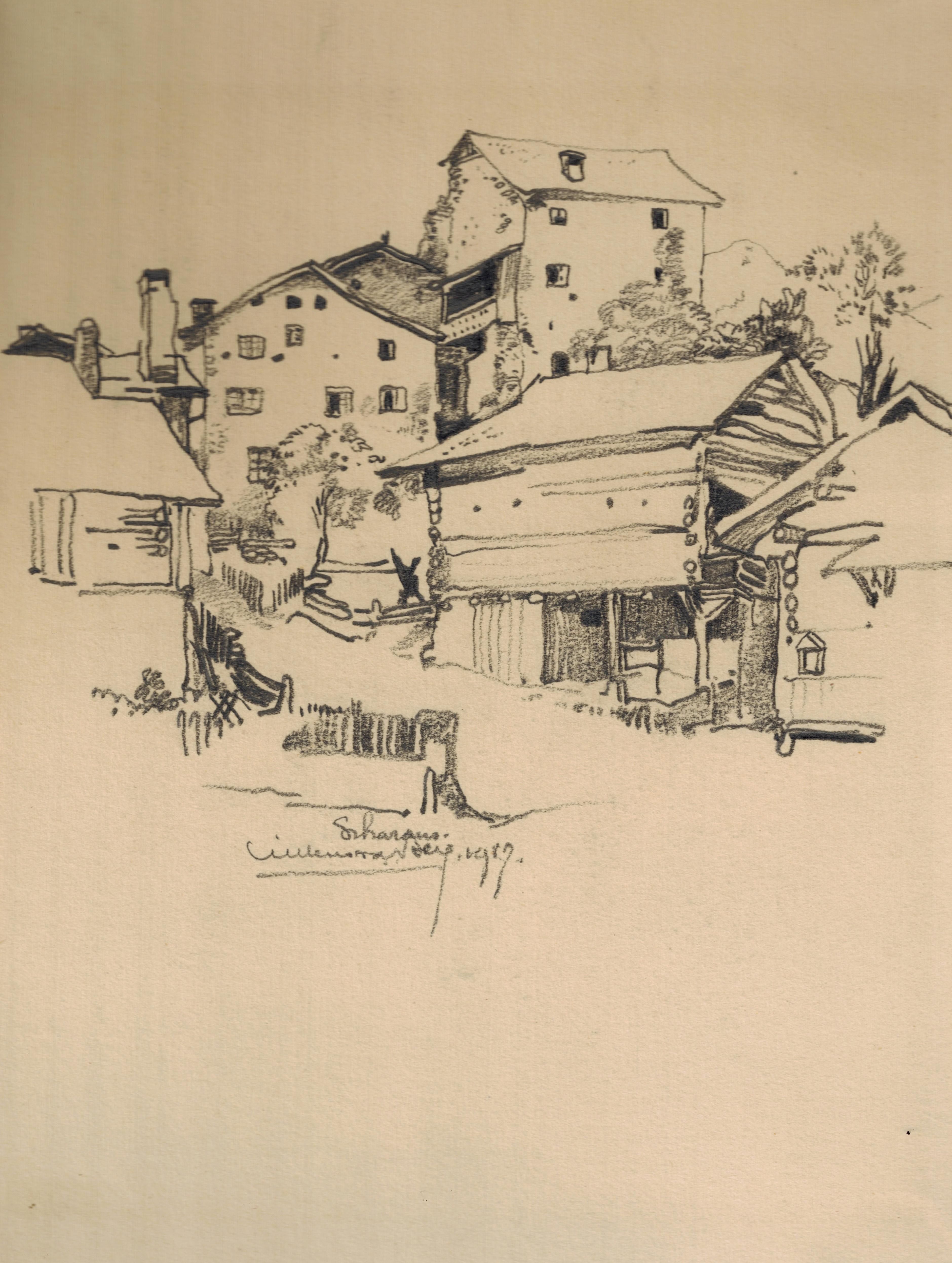 Scharanz (Zwitserland) aanzicht van het dorp- Willem van den Berg