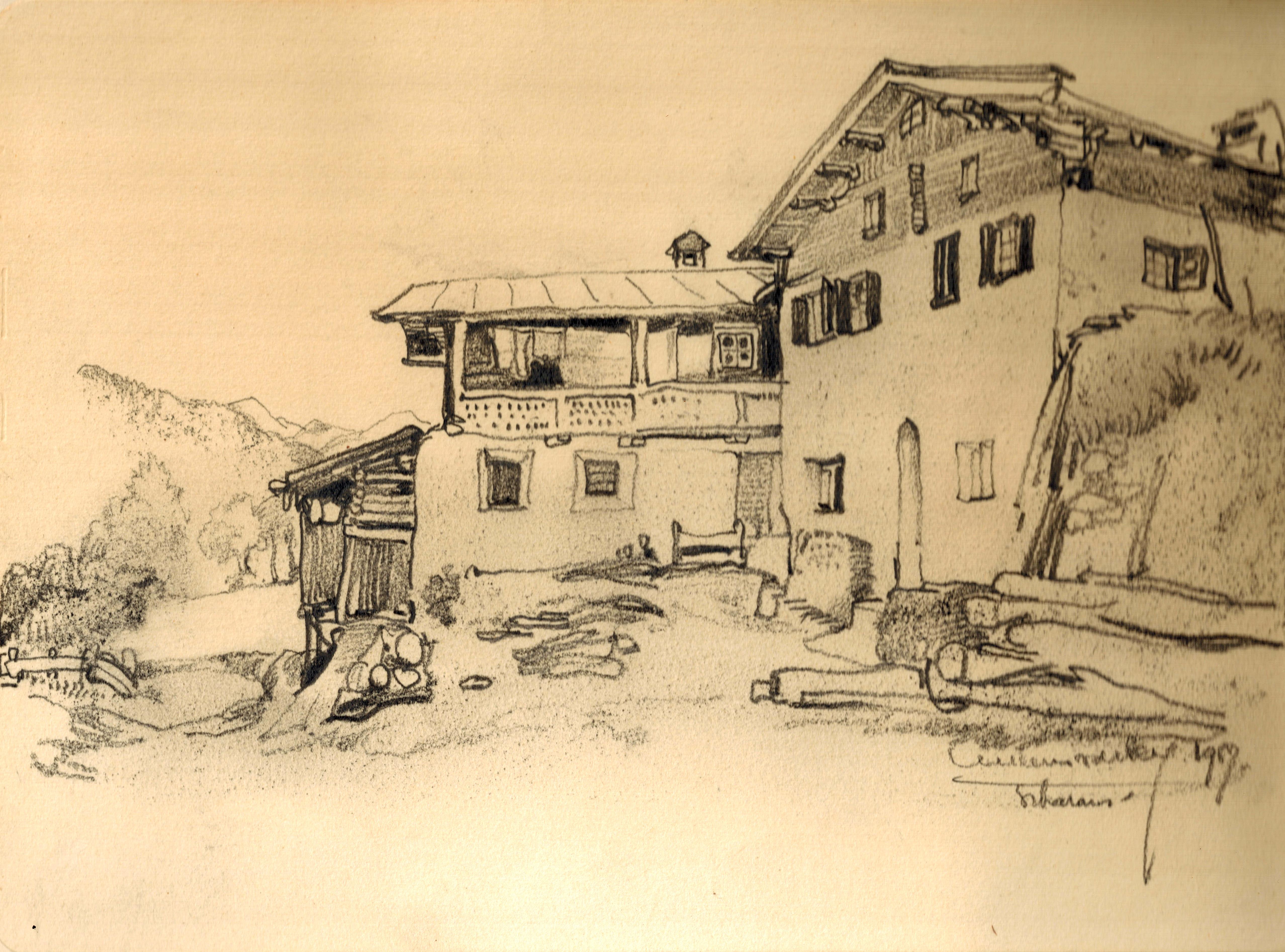 Scharanz (Zwitserland) Dorpsaanzicht met uitzicht- Willem van den Berg