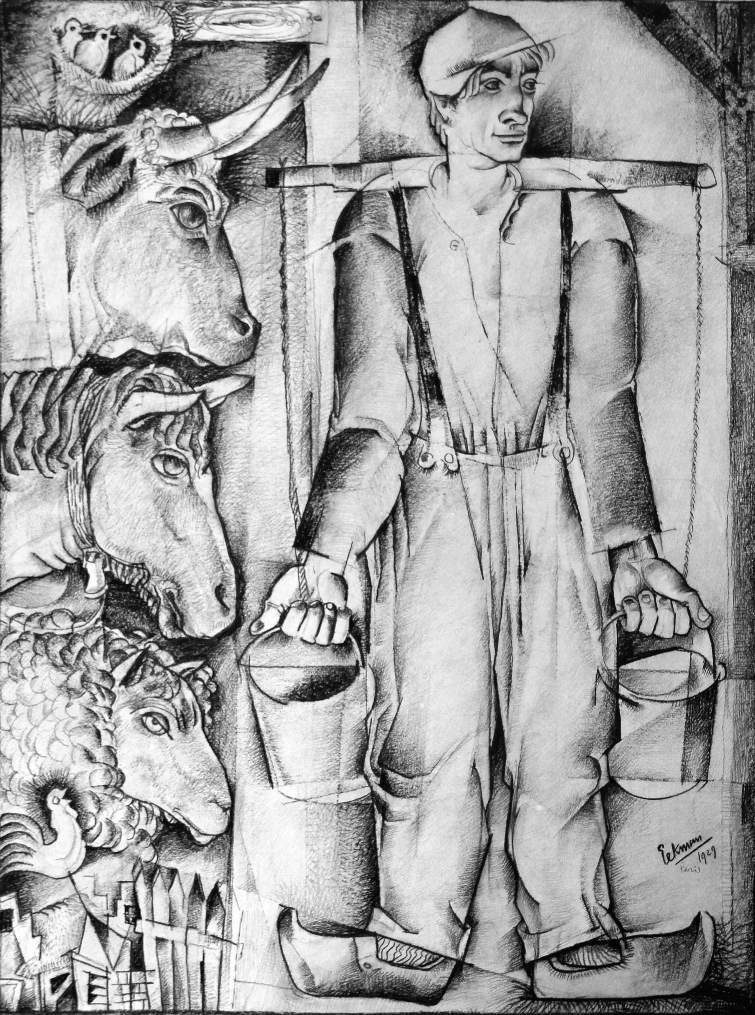 Kubistisch portret van een Jonge boer met zijn vee- Nicolaas Eekman