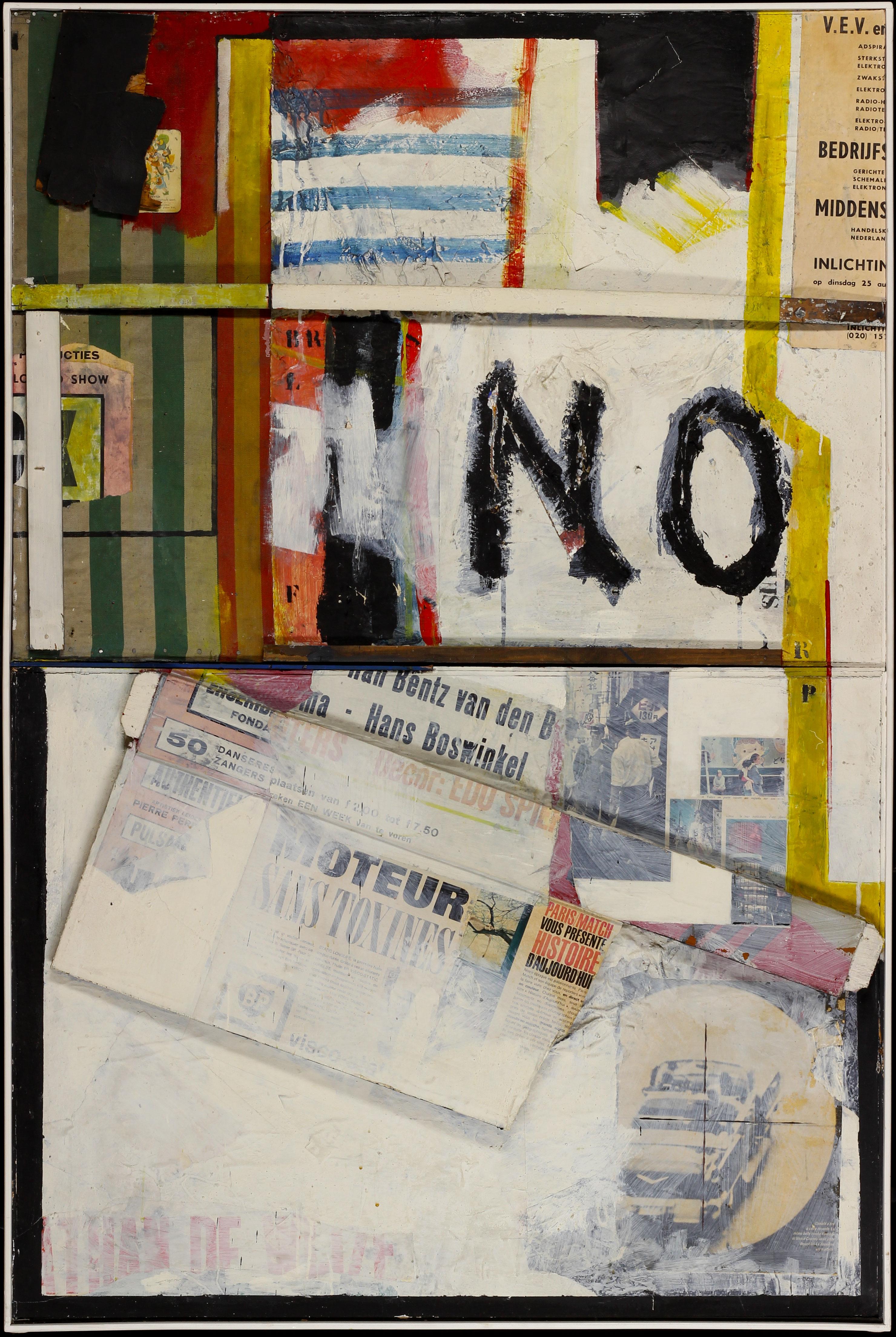 Schilderij/collage 'No' Gustave Asselbergs- Gustave Asselbergs