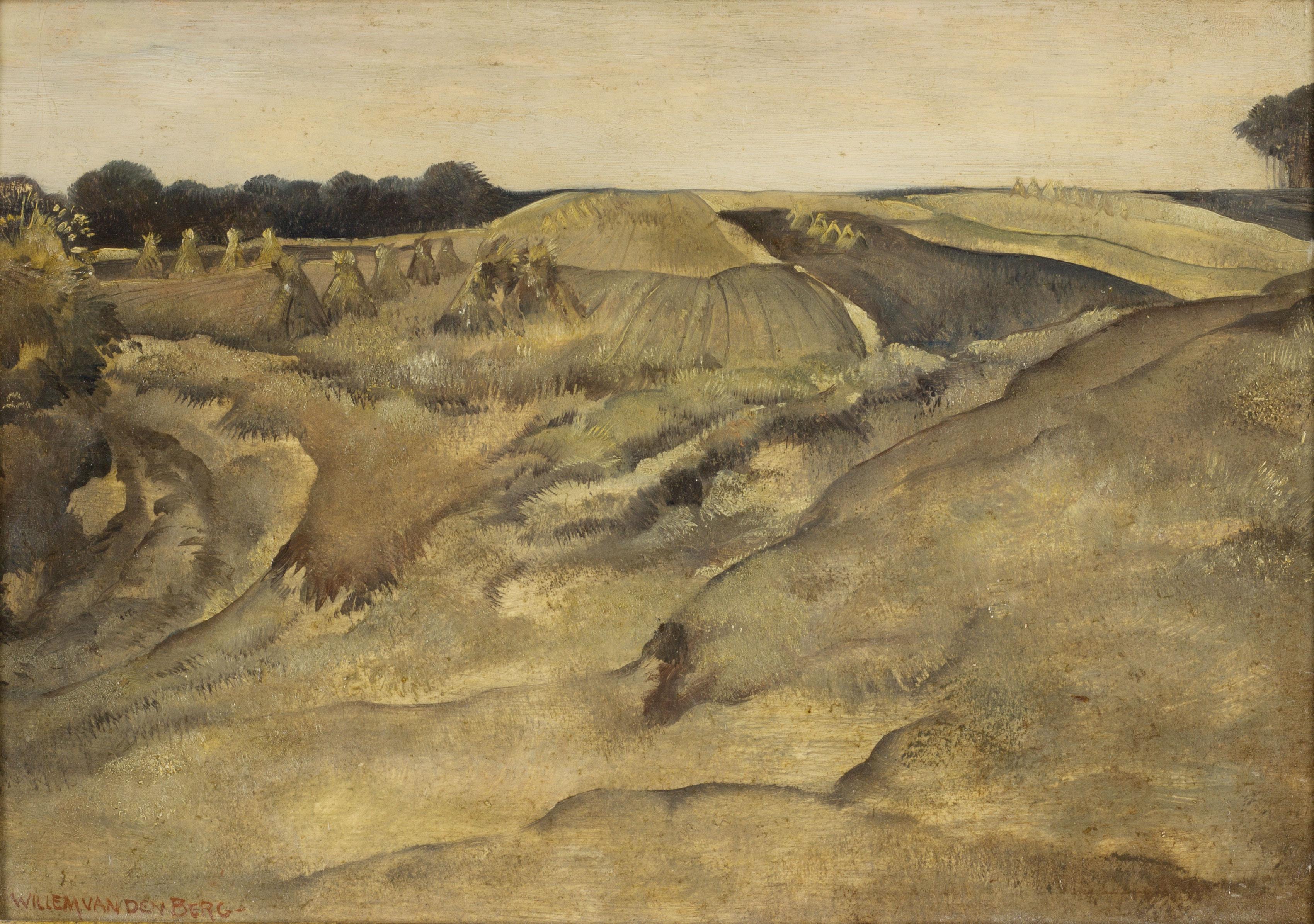 Landschap met hooischelven- Willem van den Berg
