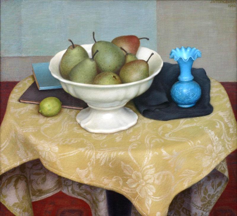 stilleven met fruitschaal en blauw vaasje- Jan van Tongeren