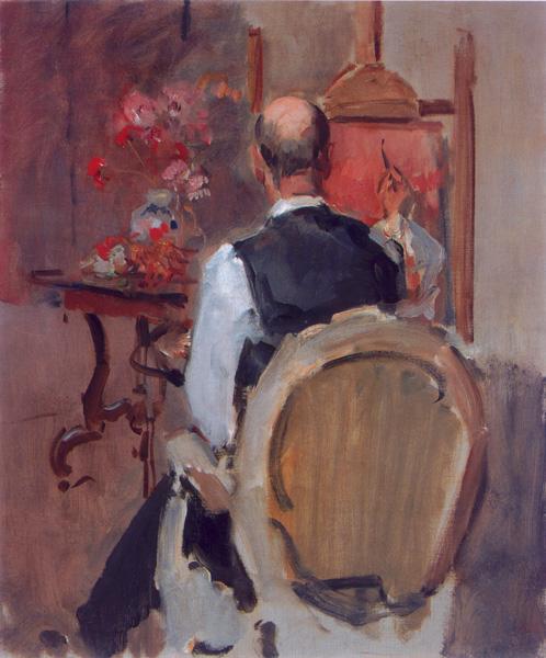 De schilder Marius Bauer achter de ezel- Isaac Israels