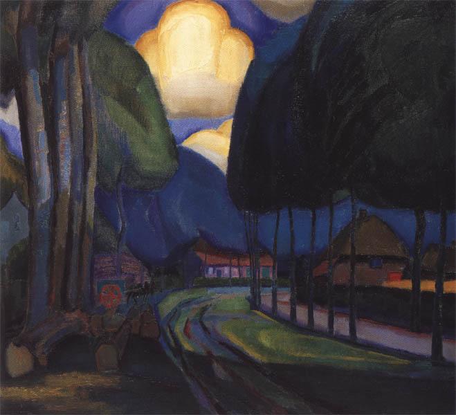 Landweg tussen bomen- Johan van Hell