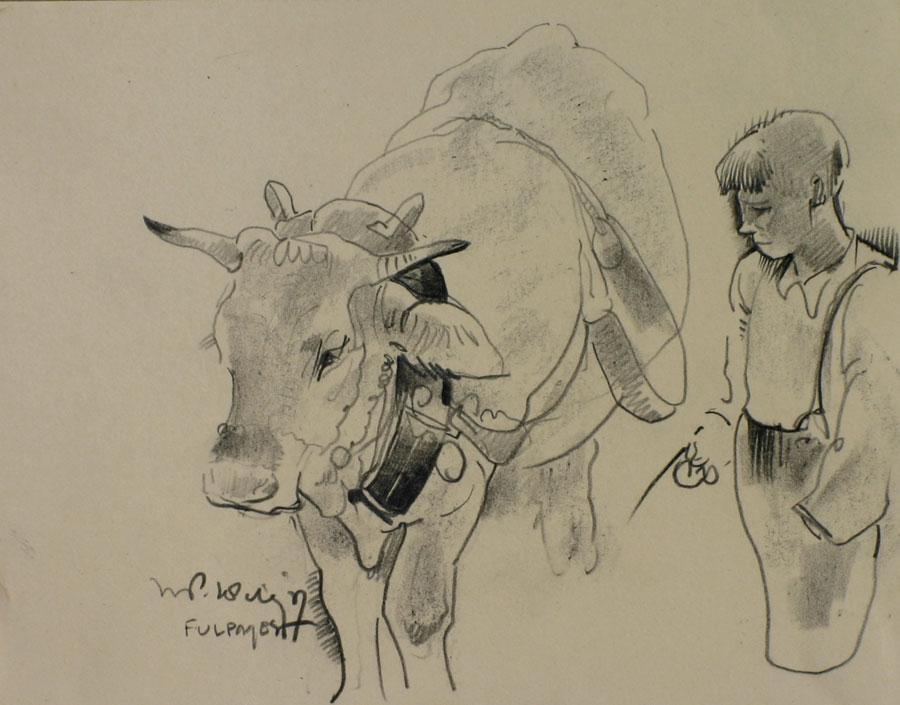Fulpmes, herdersjongen met koe- Willem van den Berg
