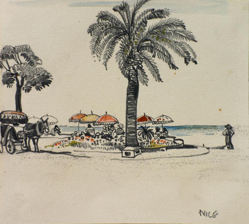 Nice, Parasols aan het strand- Willem van den Berg