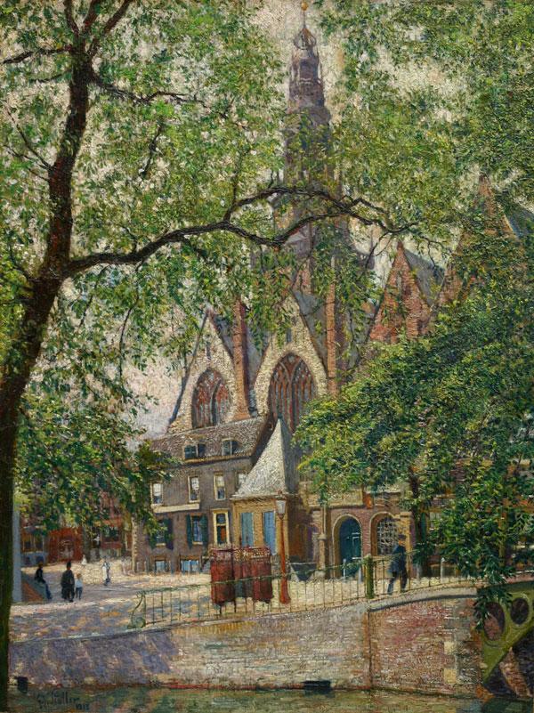 Gezicht op de Oude Kerk te Amsterdam- G.J. ( Gerard Johan ) Staller