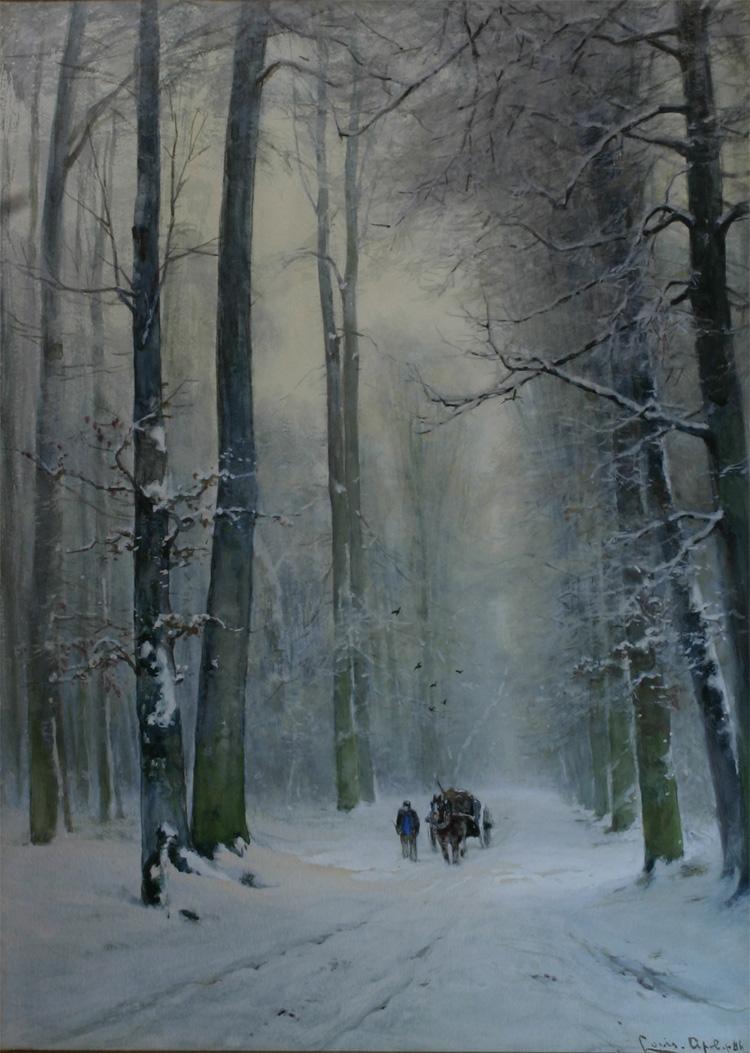 Winters pad in het Haagse bos- Louis Apol