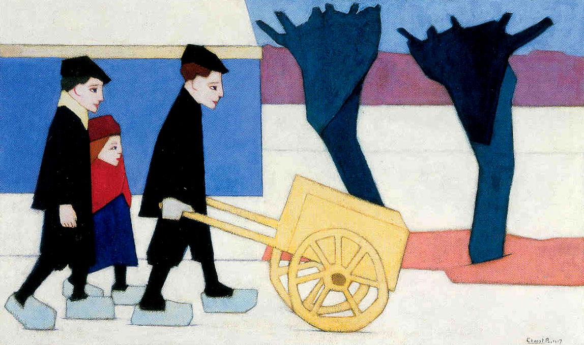 Drie figuren met een handkar- Chris Beekman