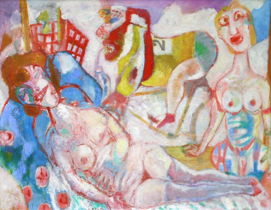 ' Twee vrouwen en een fietser '- Aad de Haas