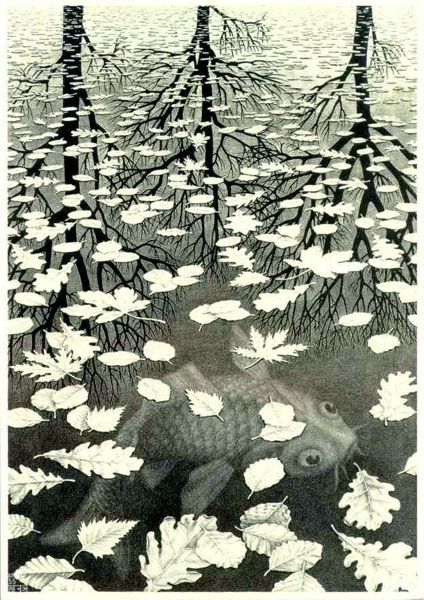 ' Drie werelden '/ 'Three Worlds '- Maurits Cornelis Escher