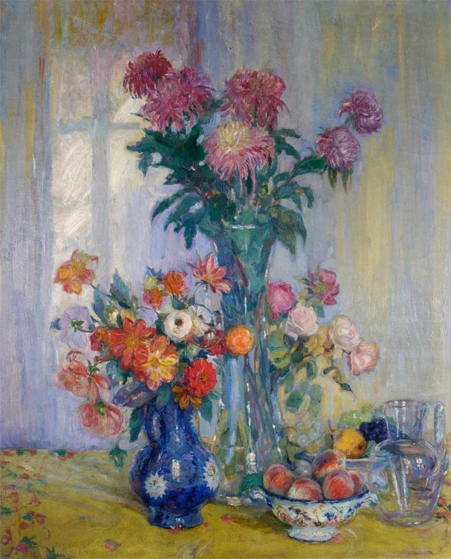 Stilleven met bloemen en fruit- Maurits Niekerk
