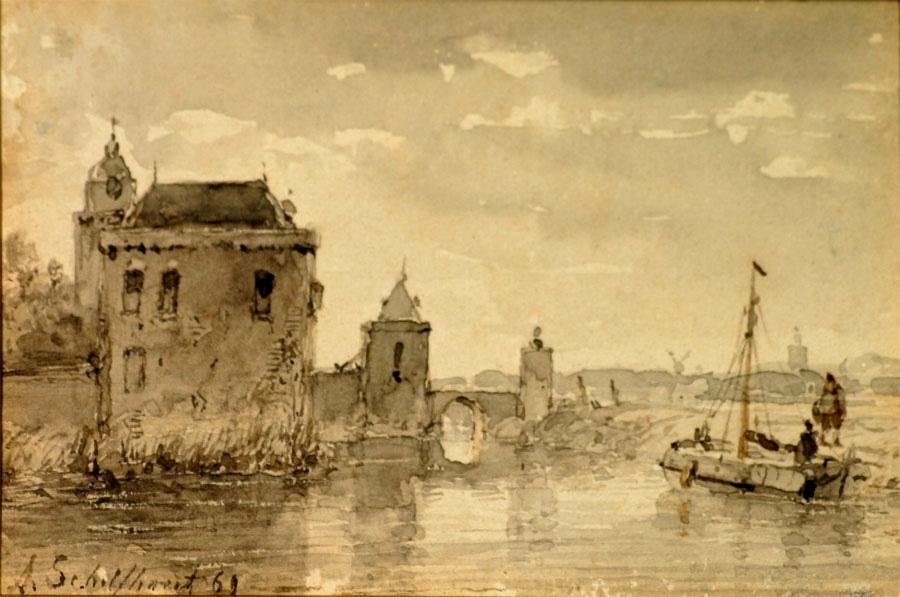 Stadspoort aan het water- Andreas Schelfhout