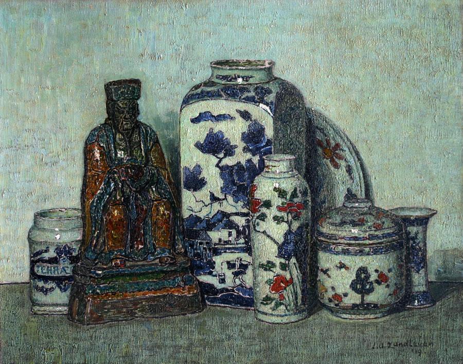 Stilleven met Chinees porcelein- Jan Adam Zandleven
