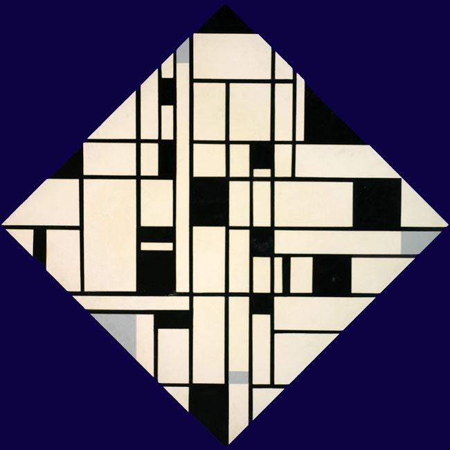 Ruitvormig gehangen abstracte compositie- Josef Ongenae