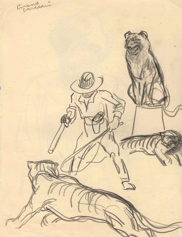 Circus Sarasani, leeuwentemmer- Willy Sluiter