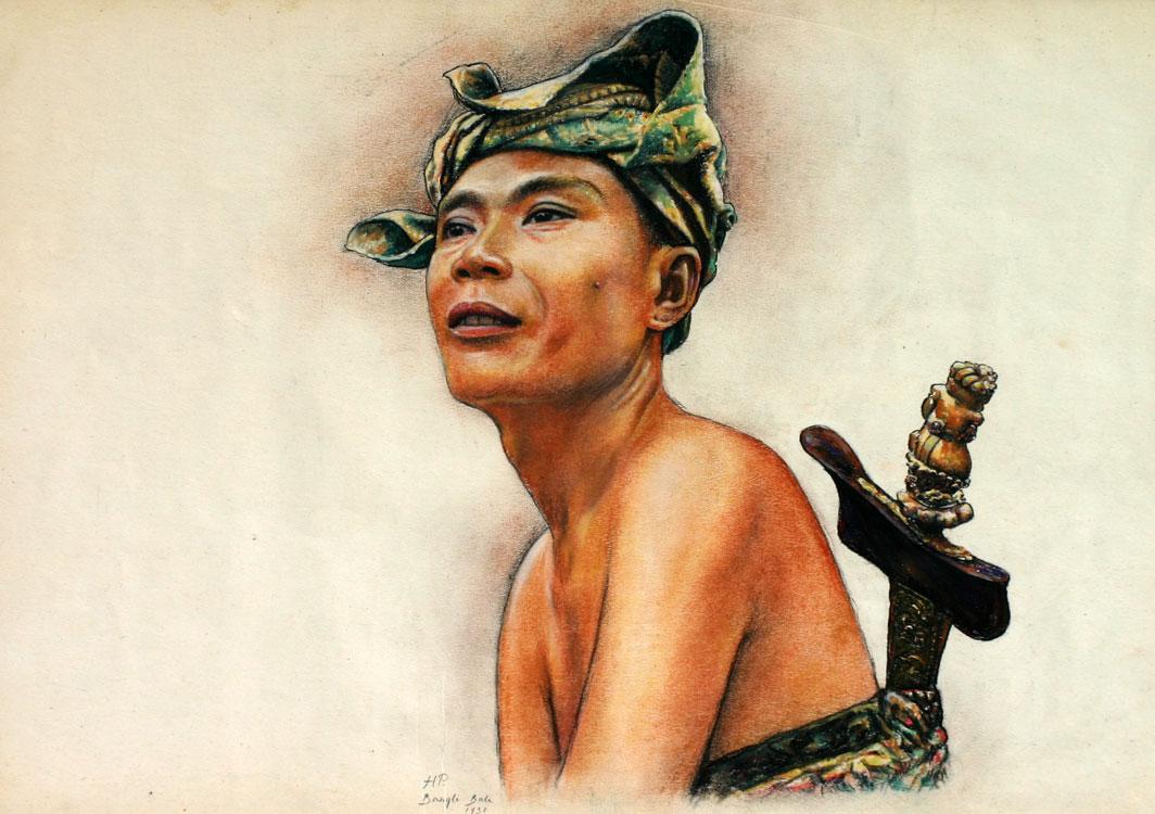 Balinese man with kris, Bangli Bali 1931- Hendrik Paulides