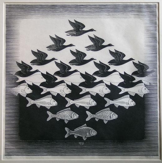 Lucht en Water I  /  Sky and Water I- Maurits Cornelis Escher