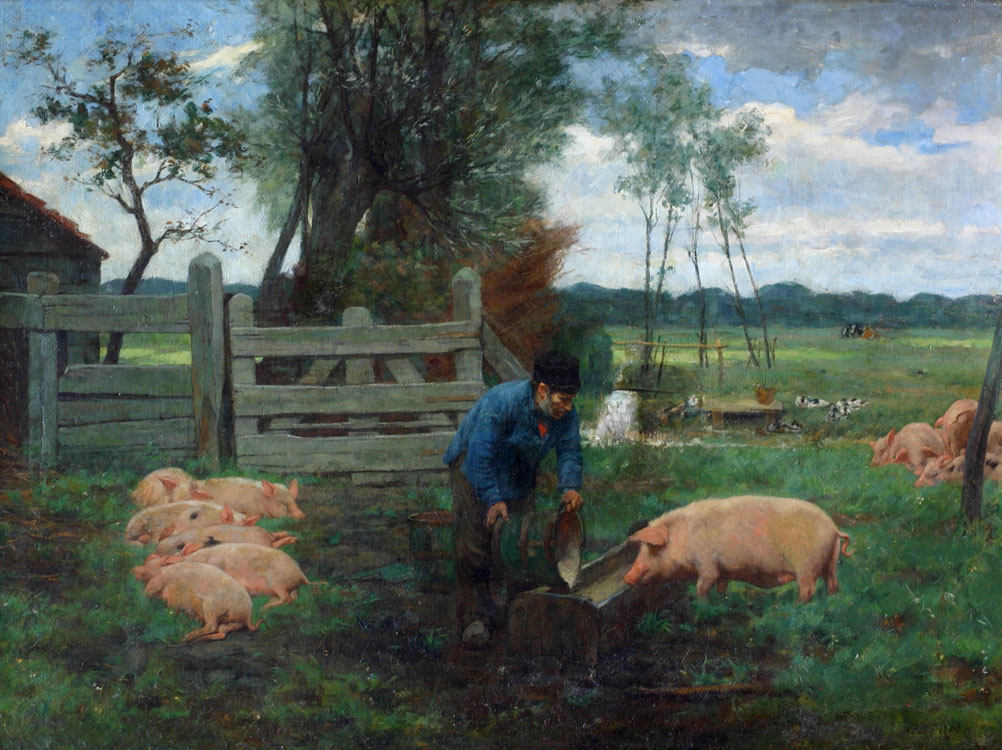 Boer die zijn varkens voert- Hendrik Johannes Haverman