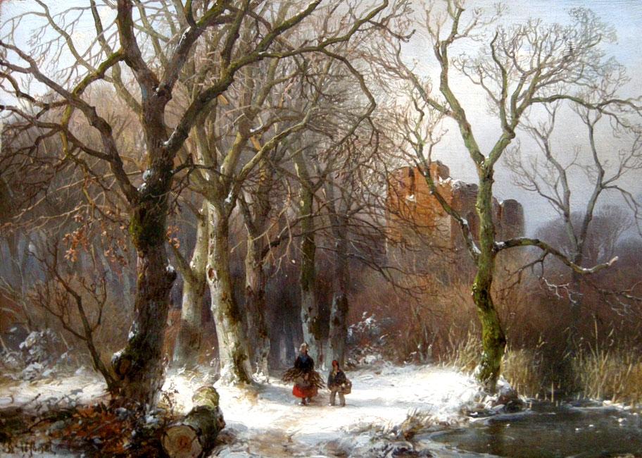 Winterlandschap met twee houtsprokkelaars op een besneeuwd bospad- Andreas Schelfhout