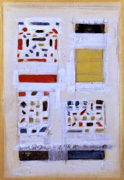 vier uitgevoerde tapijtontwerpen voor de firma Metz & Co- Bart van der Leck