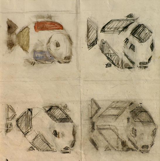 vier ontwerptekeningen voor vissentegel- Bart van der Leck