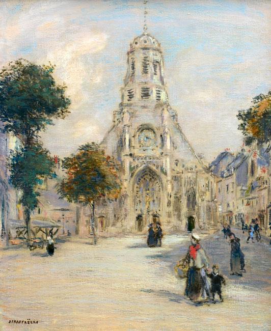 Eglise et place animée- Jean Francois Raffaelli
