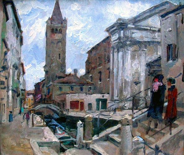 Venetië: twee dames op een brug over het Canale San Barnaba- Hendrik Jan Wolter