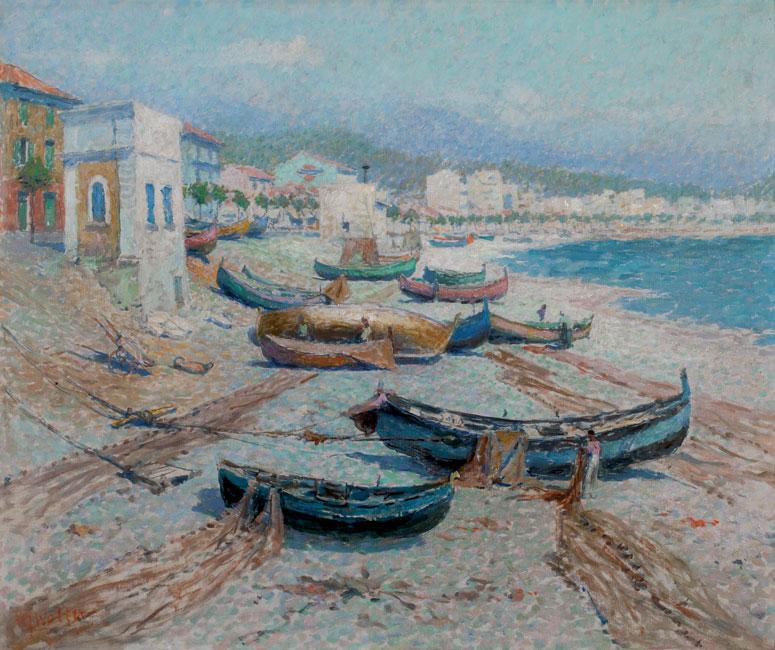 Vissersboten op het strand van Nice- Hendrik Jan Wolter