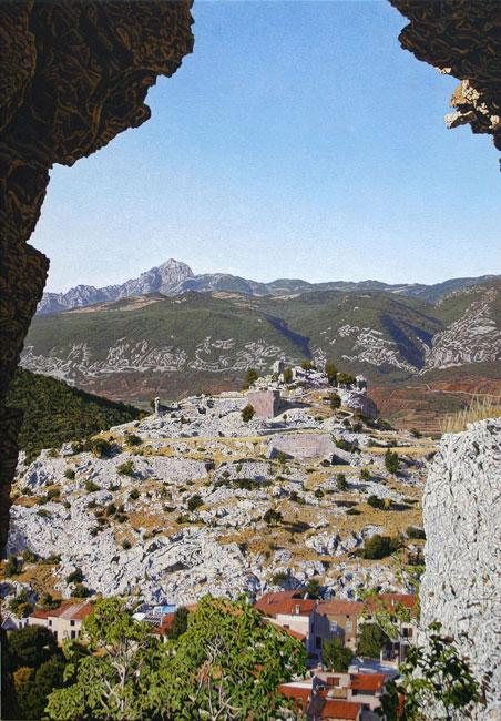 Fenouillet: vue depuis Castel Saint Pierre  sur Castel Sabarda- daan de Jong