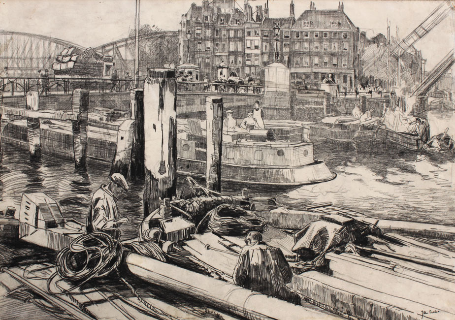 Een drukke dag in de Rotterdamse haven- Jan Sirks